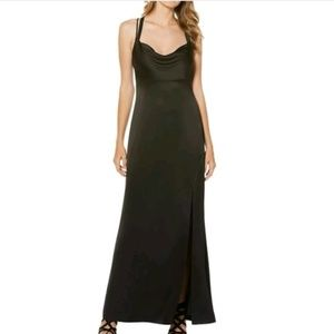 NWT Satin Strappy Back High Slit Evening Long Gown